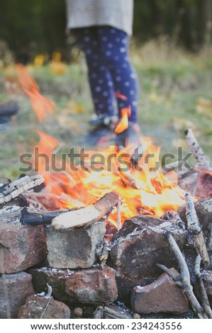 Little girl roasting a marshmallow in the campfire - stock photo