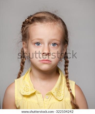 little girl sad - stock photo