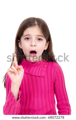 little girl say no - stock photo