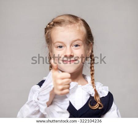 little girl schoolgirl - stock photo