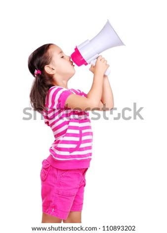 Little girl screaming in megaphone - stock photo