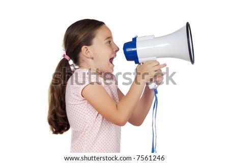 Little girl shouting through megaphone over white background - stock photo