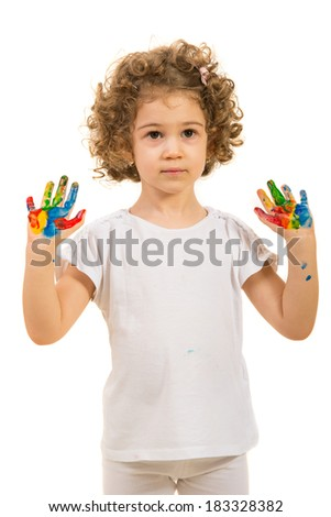 Little girl showing her colorful palms  isolated on white background