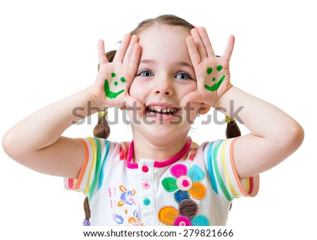 Little girl showing painted hands with funny face isolated - stock photo