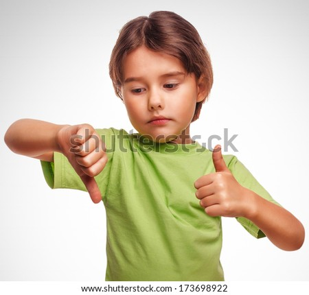 little girl shows sign yes no gesture isolated on white background emotions gray large - stock photo
