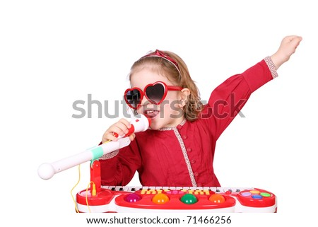 little girl sing - stock photo