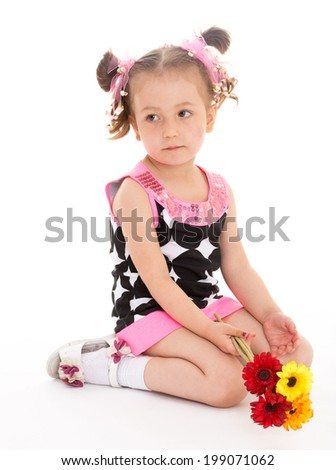 little girl sitting on his lap and holding a small bouquet of flowers rukaz. Isolated on white background
