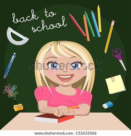 Little girl student - stock photo