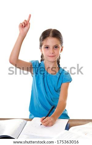 little girl studying - stock photo