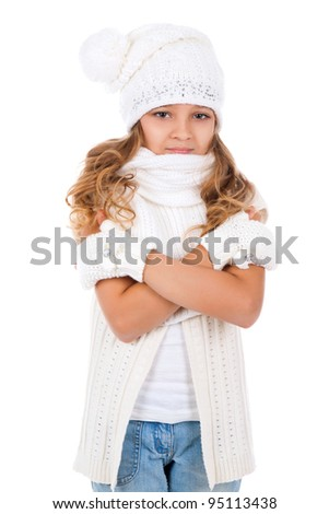 Little girl teenager in winter hat and gloves happy smile, isolated over white background