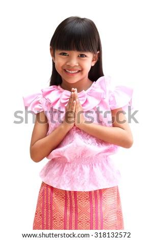 "Little Girl Thailand's Respect ""Sawatdee"" - stock photo"