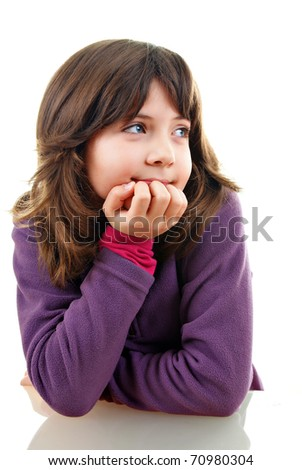 Little girl thinking on white background - stock photo