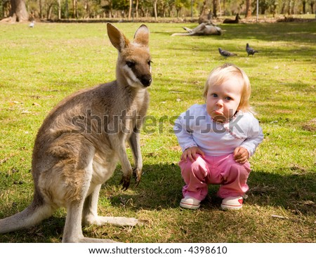 little girl thinks the kangaroo is sad, so she shows it to - stock photo