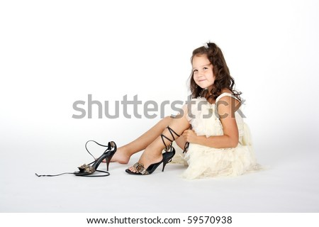 Black Little Girl Trying Her Mother S Shoes