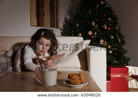 Little girl wake up at Christmas night and discerning Santa Claus - stock photo