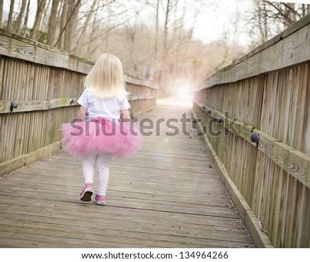 little girl walking on bridge in tutu - stock photo