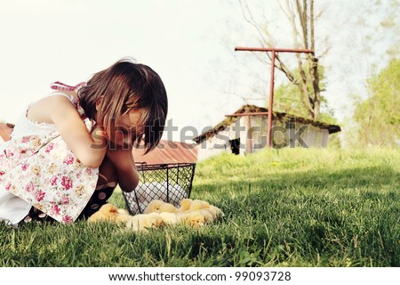 Little girl watching Buff Orpington chicks  with chicken coop and barn in far background. Extreme shallow depth of field with some blur on lower portion of image.
