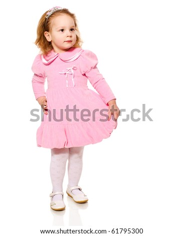 Little Girl wearing pink dress isolated on white