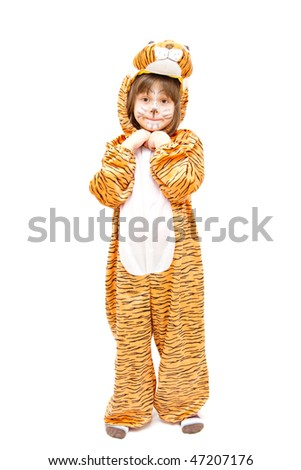 little girl wearing tiger costume isolated on white - stock photo