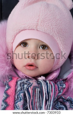 little girl winter outfit - stock photo