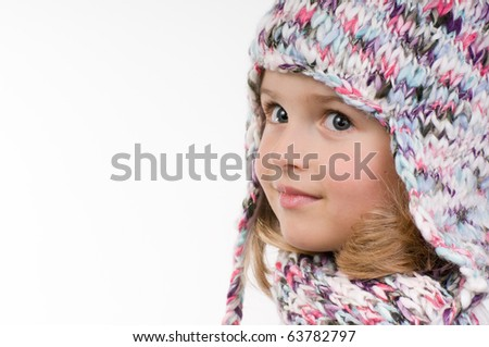Little girl winter portrait - stock photo