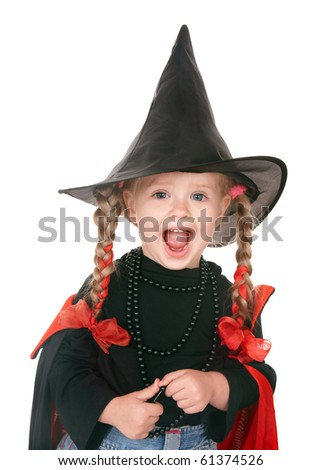 Little girl witch in black hat. Isolated. - stock photo