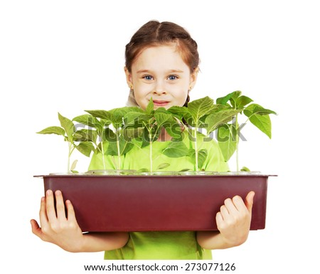 Little girl with a box of seedlings isolated over white background - stock photo