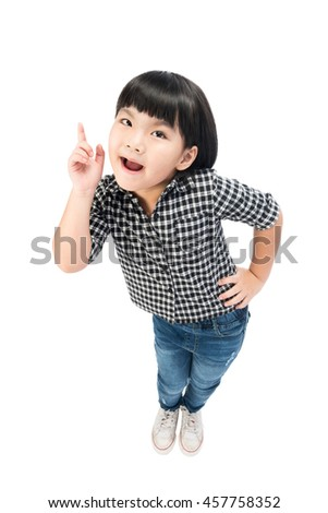 little girl with a bright idea pointing upwards with her finger to gain attention. Isolated on white with clipping path. - stock photo