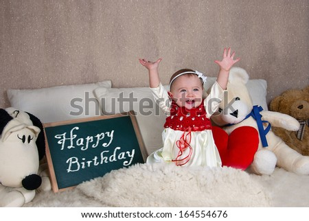 Little girl with a sign with the words Happy Birthday. - stock photo