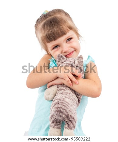 Little girl with a toy cat isolated - stock photo