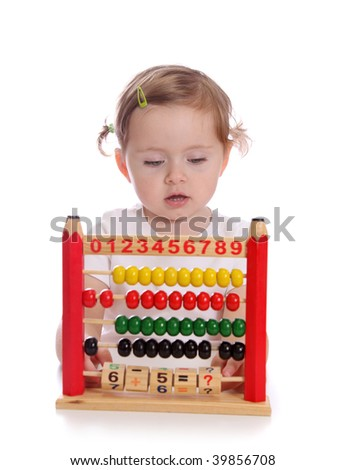 Little girl with abacus  isolated on white background - stock photo