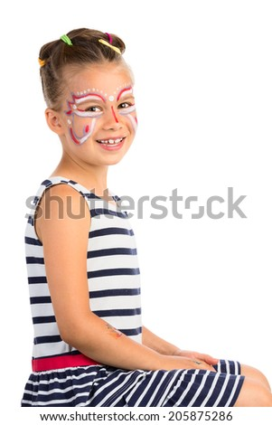 Little Girl With Abstract  Face Painting, Isolated - stock photo