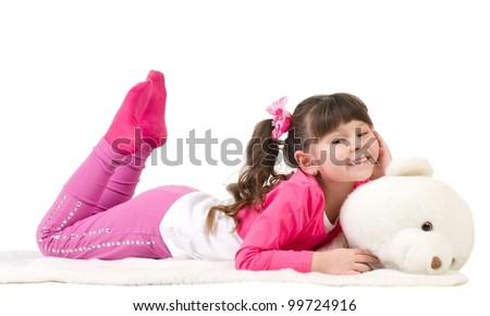 Little girl with bear on white background - stock photo