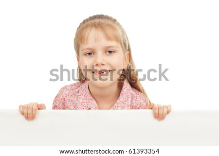 Little girl with blank isolated on white