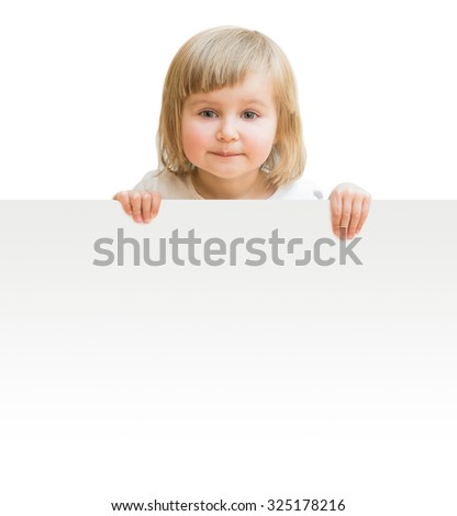 little girl with board isolated on a white background - stock photo