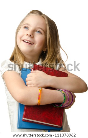 Little girl with books on white - stock photo