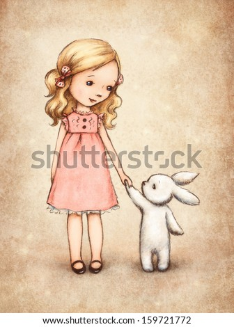 Little girl with bunny - stock photo
