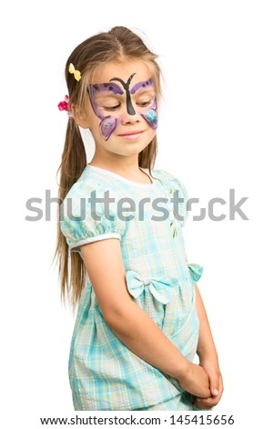 Little Girl With Butterfly Painting on Humorously Shy Face, Isolated