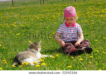 little girl with cat in the meadow
