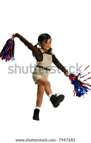Little girl with cheerleading pompoms - stock photo