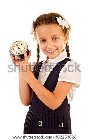 little girl with clock isolated on a white background - stock photo