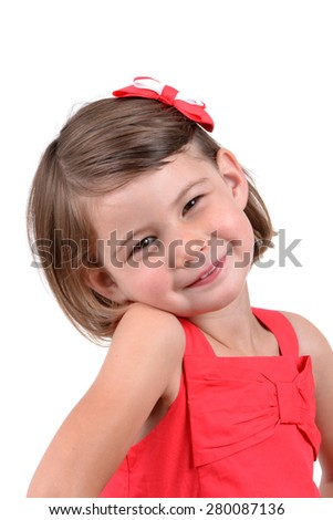 little girl with cute expression isolated white background - stock photo
