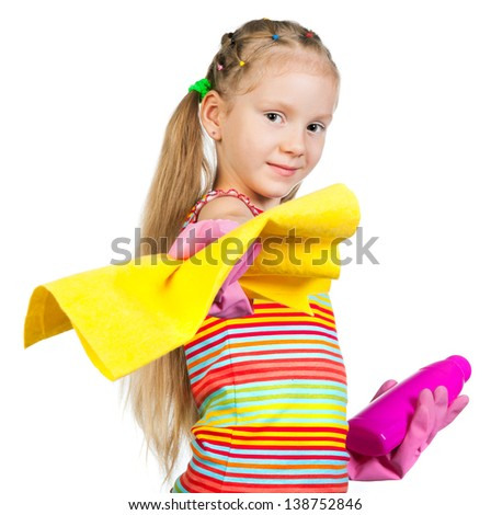 little girl with detergents on white background - stock photo