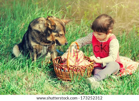 Little girl with dog on a picnic - stock photo