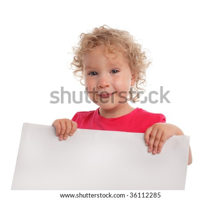Little girl with empty blank isolated on white