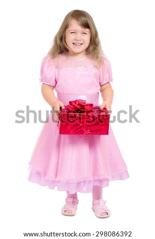 Little girl with gift box isolated - stock photo