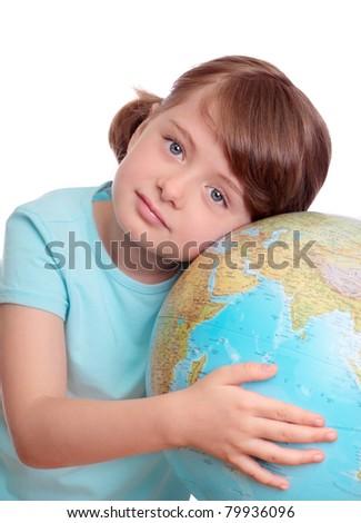 Little girl with globe - stock photo