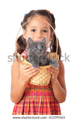 Little girl with gray kitty in wicker, isolated on white - stock photo