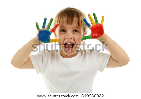 Little girl with hands in paint, isolated on white - stock photo