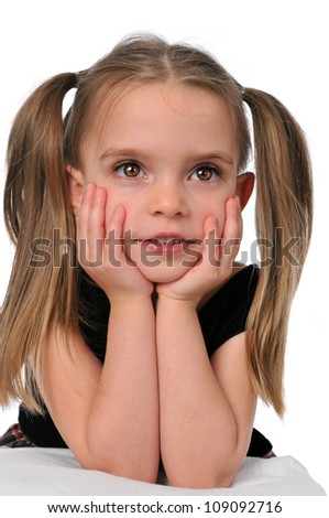 Little Girl with hands on her cheeks isolated on a white background